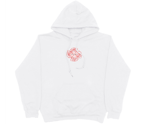 RED ROSES HOODIE WHITE