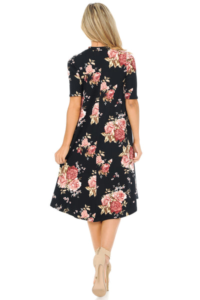 Mock Neck Trapeze Midi Dress Floral Print
