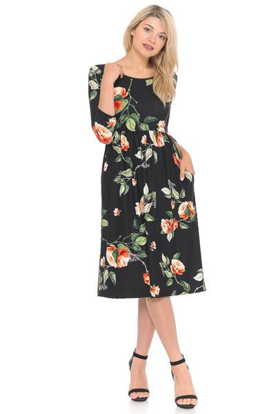 Fit and Flare Midi Dress with Pockets Floral and Striped