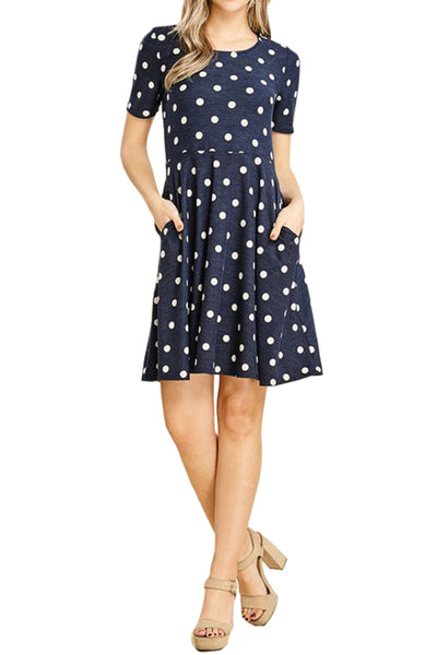 Polka Dot Fit and Flare Dress With Pocket