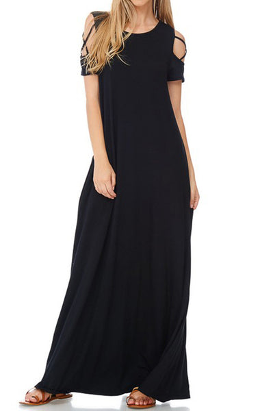 Open Shoulder Maxi Dress with Strap Detail and Pockets