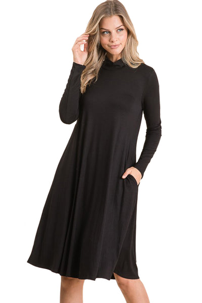 Mock Neck Trapeze Dress with Pockets