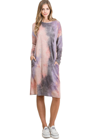 Long Sleeve Midi Dress with Pockets Print