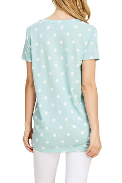 Polka Dot Top With Knot Detail