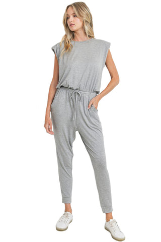 Padded Shoulder Sleeveless Jumpsuit