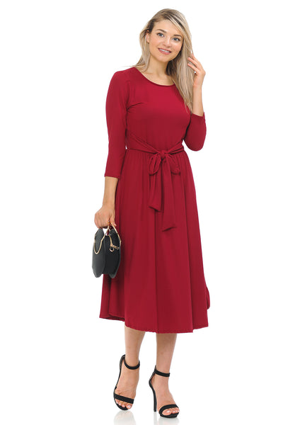 A-Line Midi Dress with Waist Tie