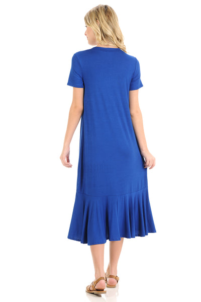 A-Line Ruffle Hemline Midi Dress