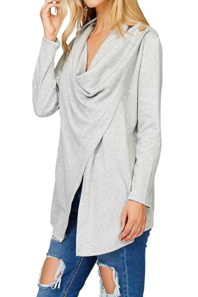 Brushed Sherpa Wrap Cardigan with Button