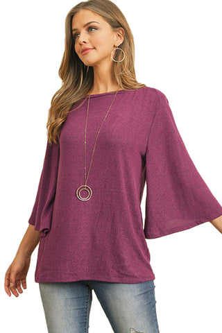 Bell Sleeve Brushed Hacci Top