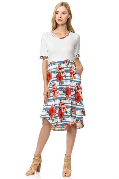 Contrast Midi Dress With Pockets