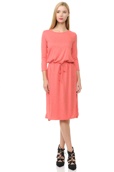 Relaxed Midi Dress with Elastic Waist Heather Two Tone