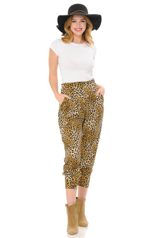 Banded Waist Harem Jogger Pants with Pockets Print