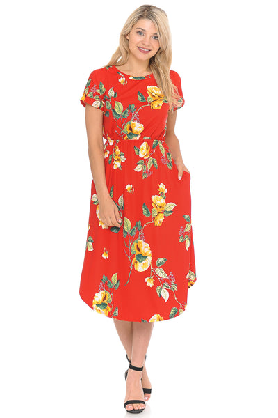 Short Sleeve Flare Midi Dress with Pockets Floral and Print