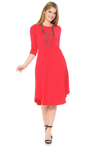 Round Hem Midi Dress with Pockets
