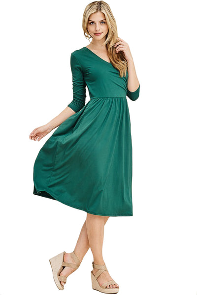 Wrap Midi Dress with Pockets
