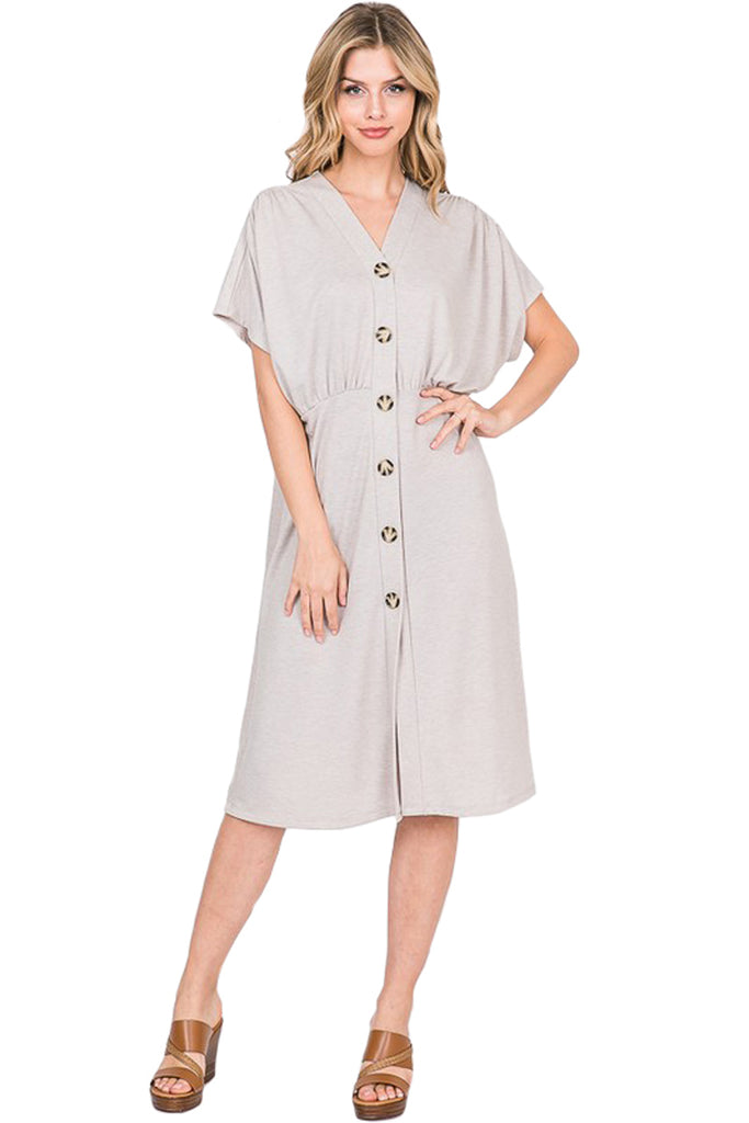French Terry Button Down Dress