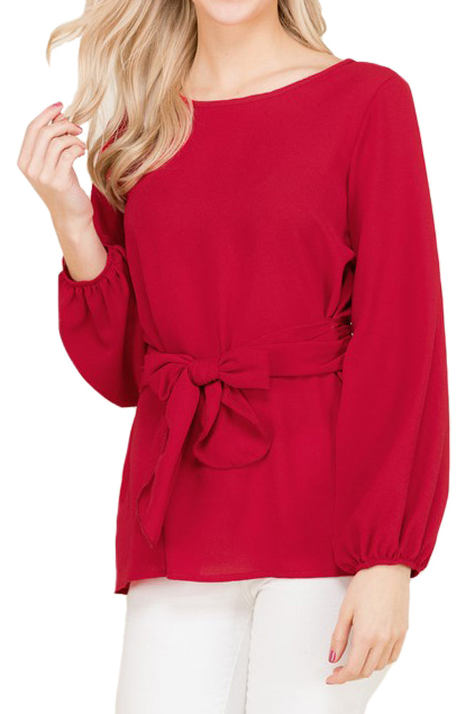 Waist Tie Blouse With Bishop Sleeve