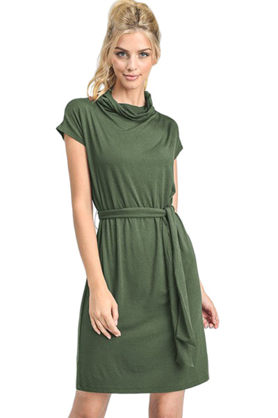 Drape Neck Dress with Belt