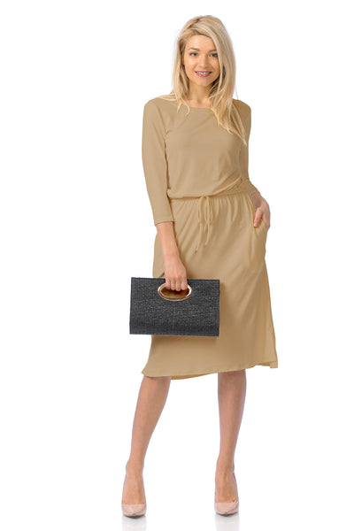 Relaxed Midi Dress with Elastic Waist Solid