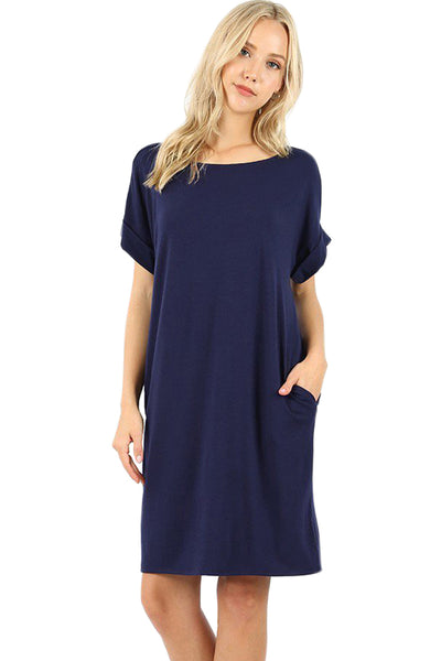 Rolled Sleeve Dress with Pockets