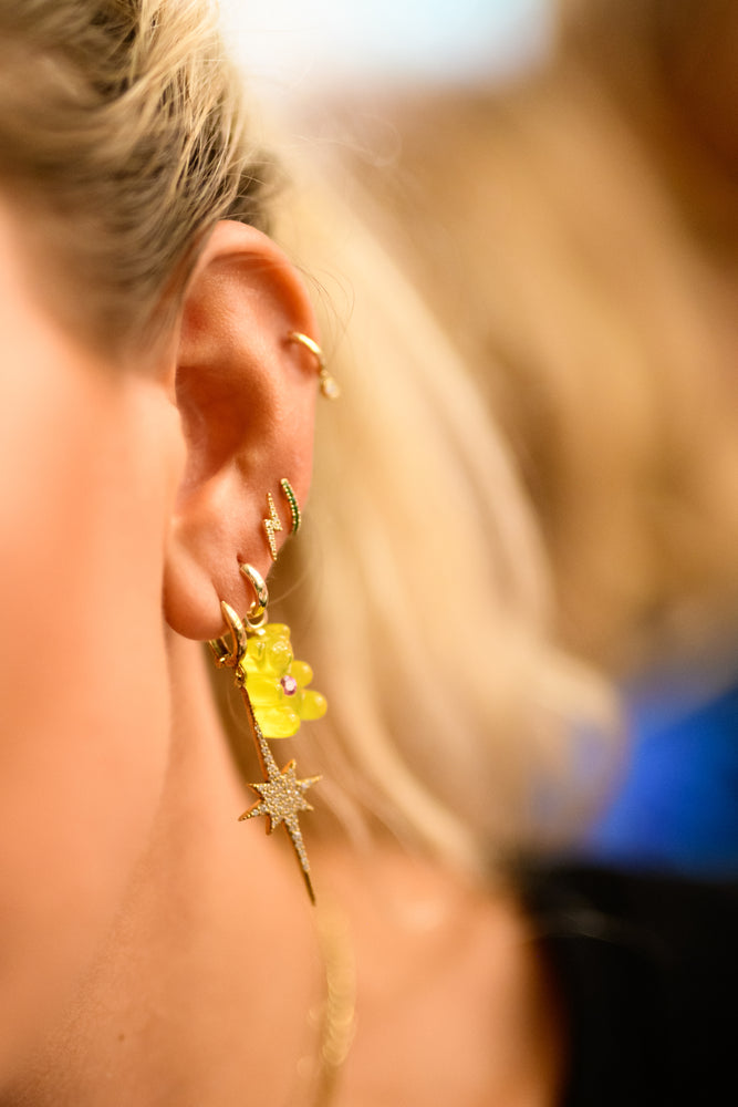 Gummy Bear Huggie Earring with Pink/Yellow Sapphire