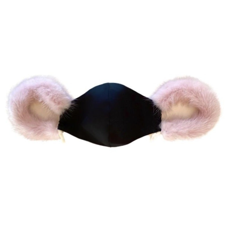 Face Mask with Mink Ear Loops
