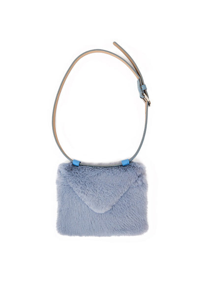 Envelope clutch belt bag (faux fur) - Sky blue