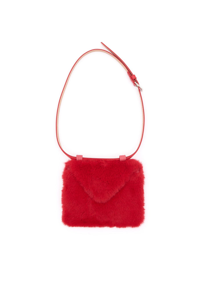 Envelope clutch belt bag (faux fur) - Red