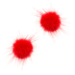 Mink Puff Ball Earring (red)