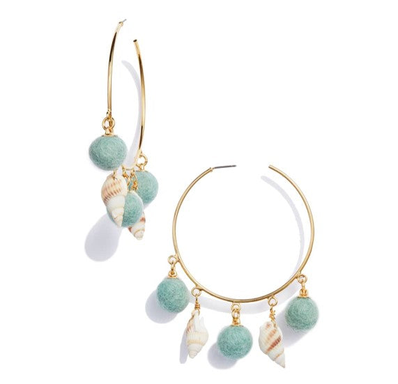 Shell and Pom Hoops