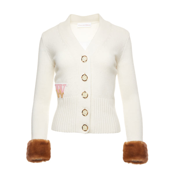 Varsity Cardigan (cream with brown mink cuffs)