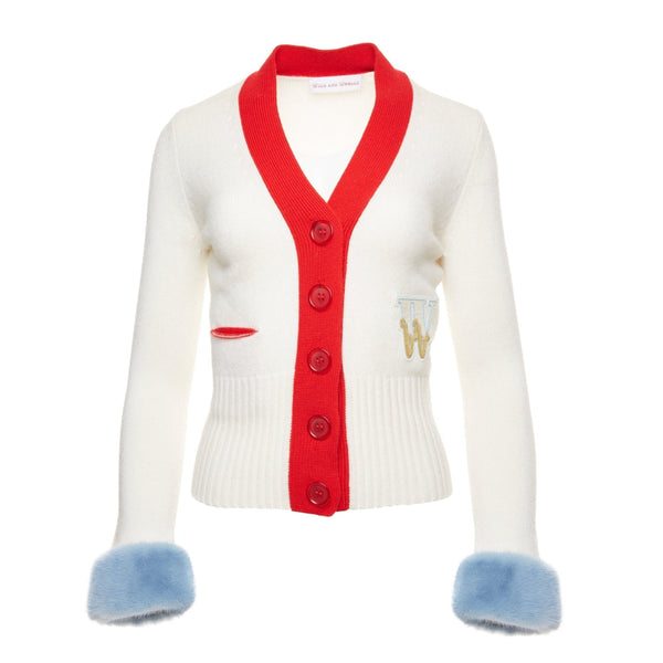 Varsity Cashmere Cardigan (cream with blue mink cuffs)