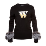 Varsity Cashmere Sweater (Black)