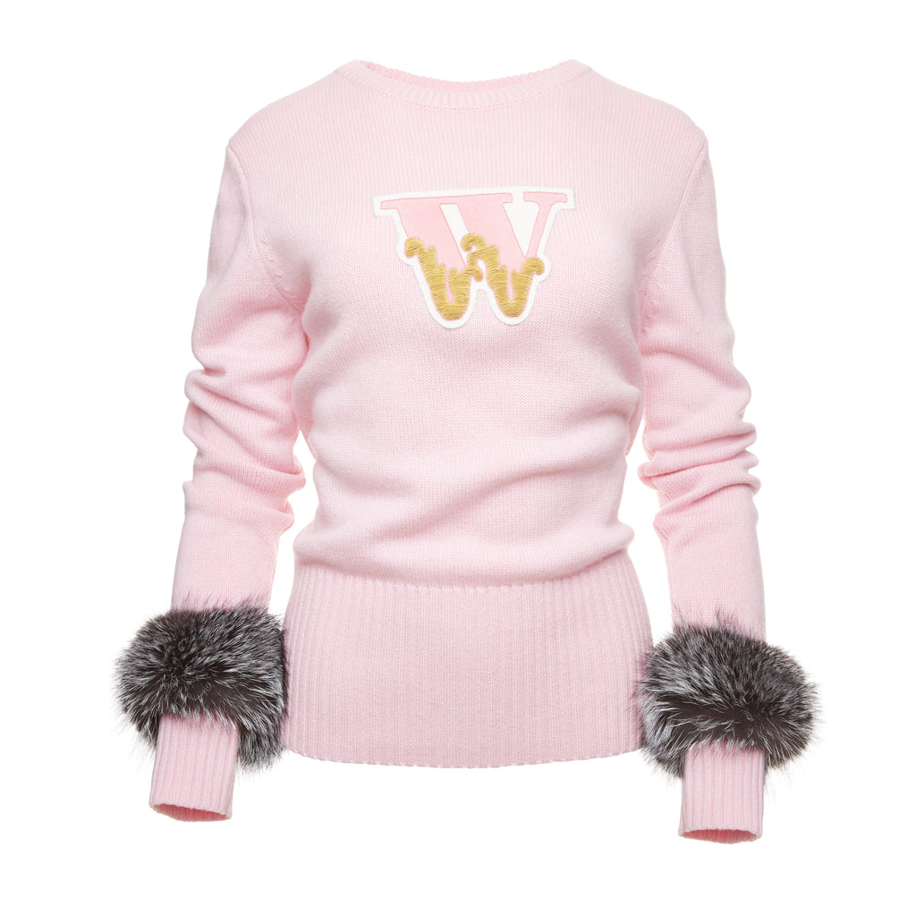Varsity Cashmere Sweater (Pink)