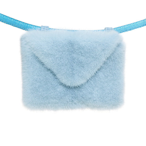 Envelope clutch belt bag (mink) - sky blue