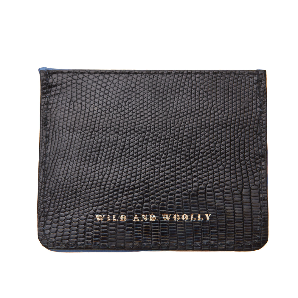 Blue Mink with Black Lizard Card Holder
