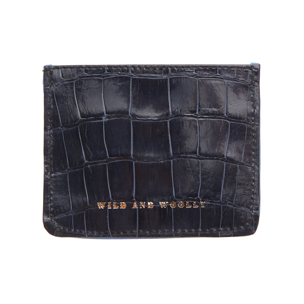 Blue Mink with Black Alligator Card Holder