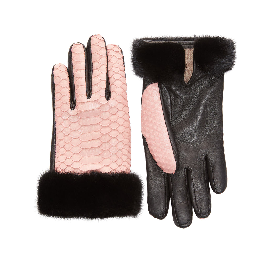 Cashmere-Lined Python Gloves with Mink Cuff