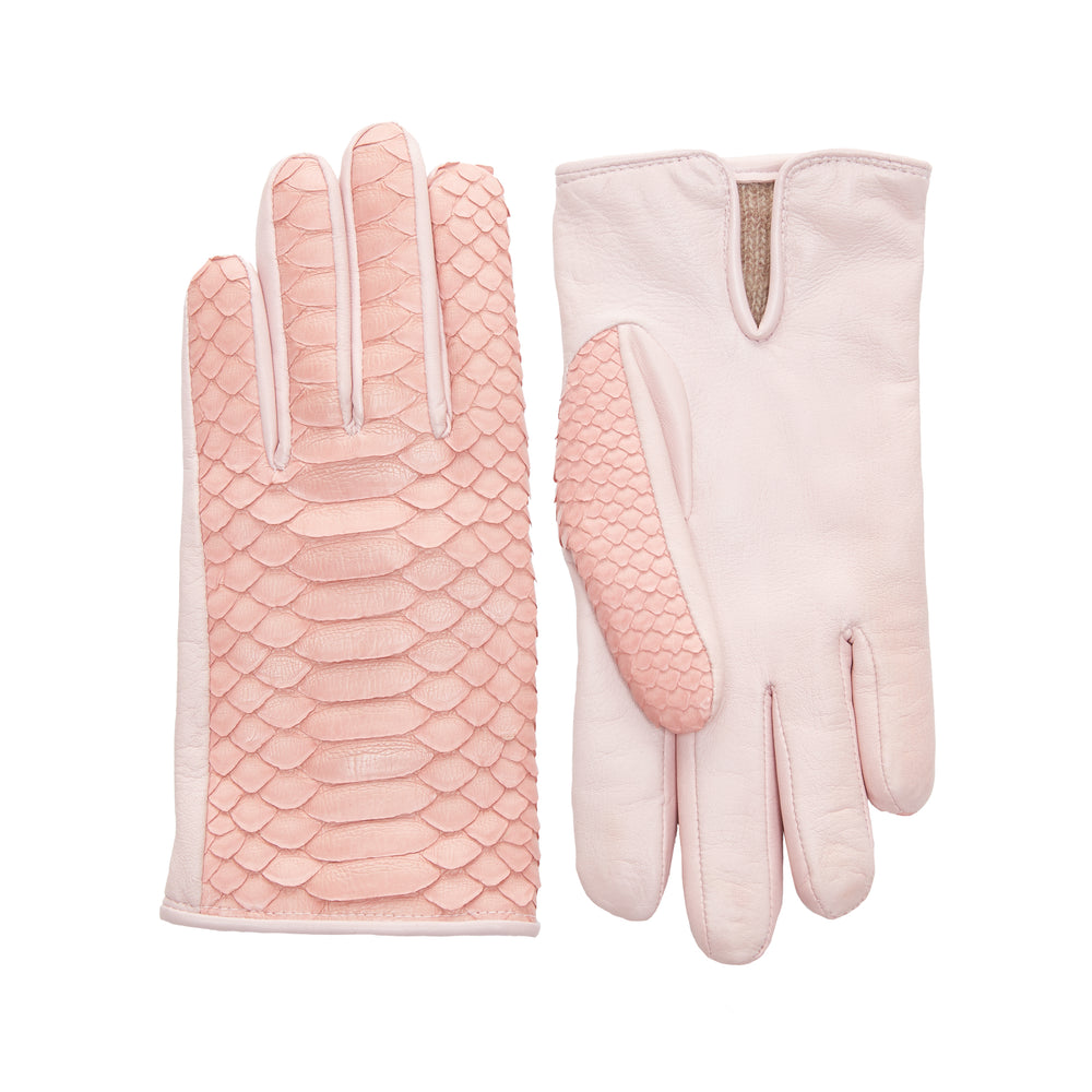 Cashmere-Lined Python Gloves