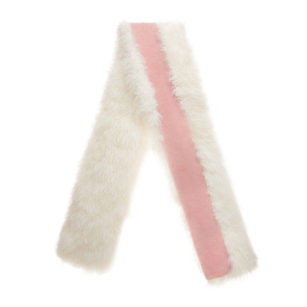Cashmere Shearling Colorblock Reversible Stole