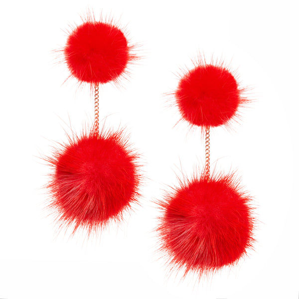 Mink 2 drop earring (red)