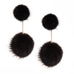 Mink 2 drop earring (black)