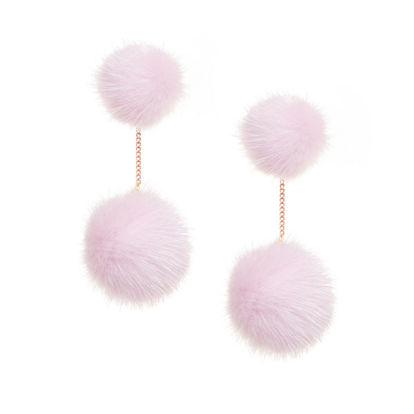 Mink 2 drop earring (pink)