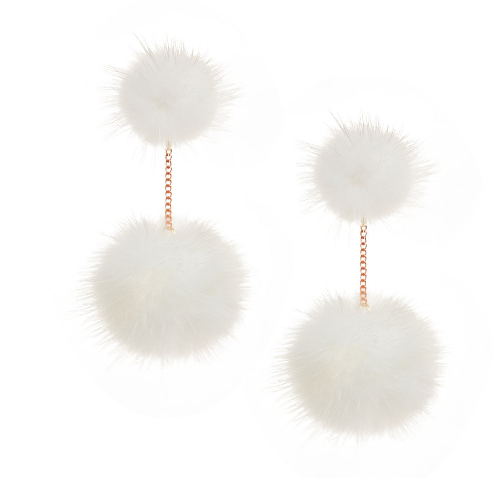 Mink 2 drop earring (white)