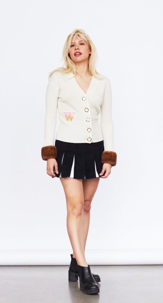 Varsity Cashmere Cardigan (cream with brown mink cuffs)