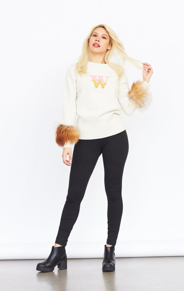 Varsity Cashmere Sweater (Cream)