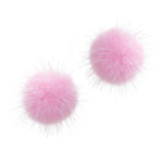 Mink Puff Ball Earring (baby pink)