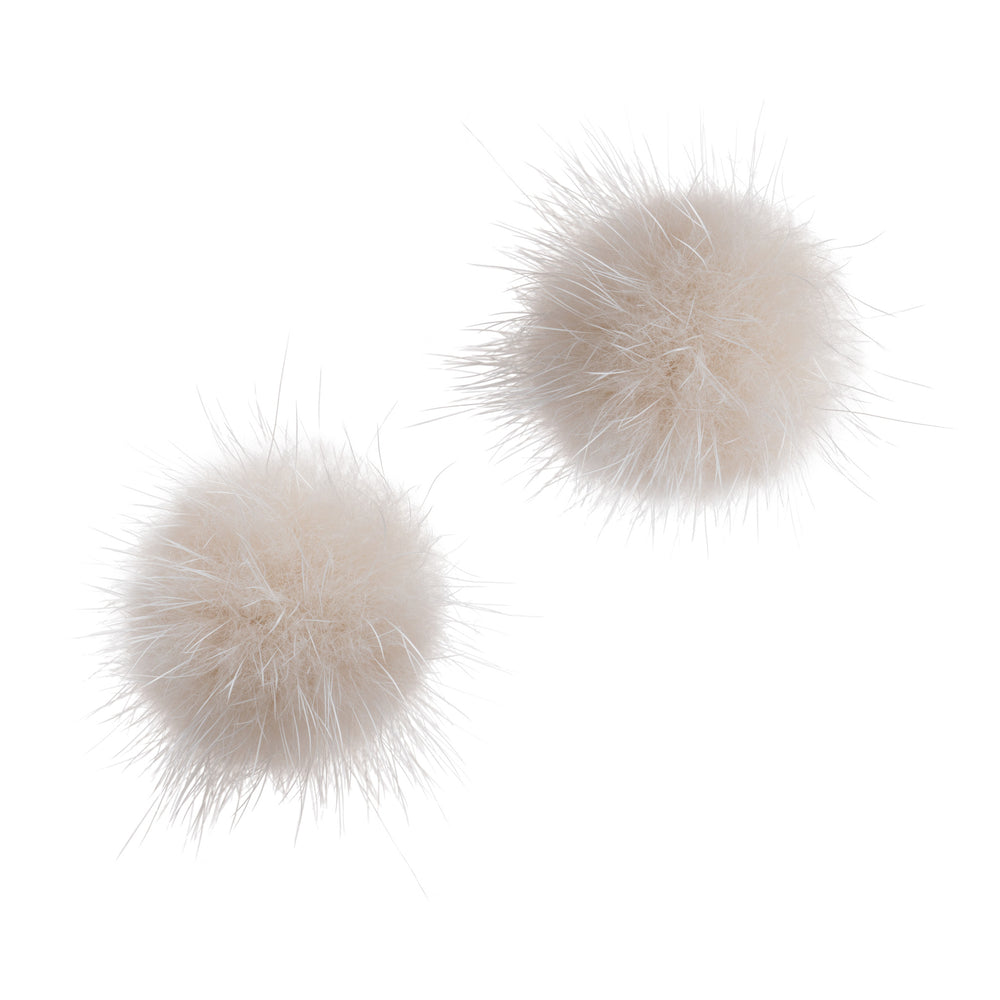 Mink Puff Ball Earring (ivory)