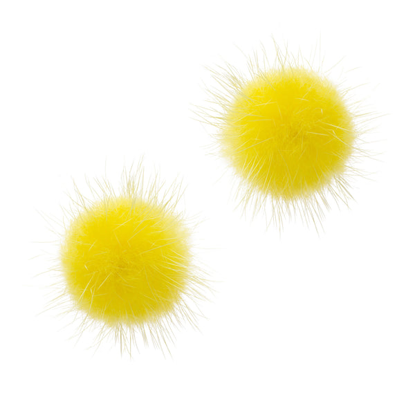 Mink Puff Ball Earring