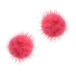 Mink Puff Ball Earring (coral pink)